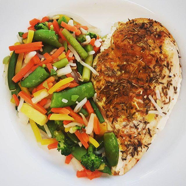 Yep. Först ut är världens enklaste fastfood. Kycklingfilet i ugn med grönsaker. Straight up.  Använd gärna kryddorna Chili, ingefära, gurkmeja och vitlök. Kör med termometer och plocka ut när kycklingen närmar sig 73 grader.