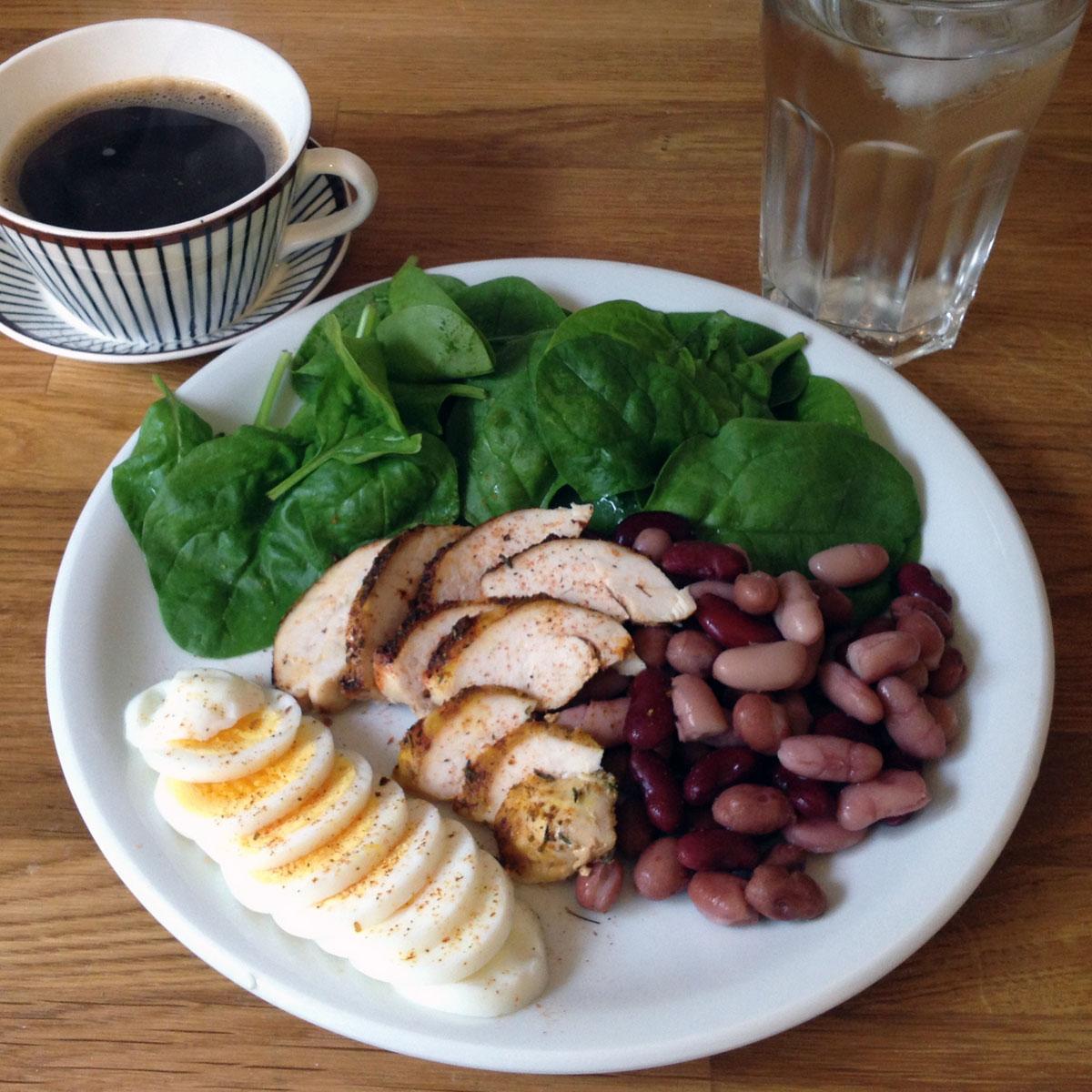 Frukostförslag med ägg och kyckling.