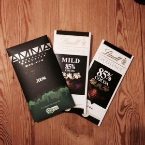 Olika typer av mörk choklad