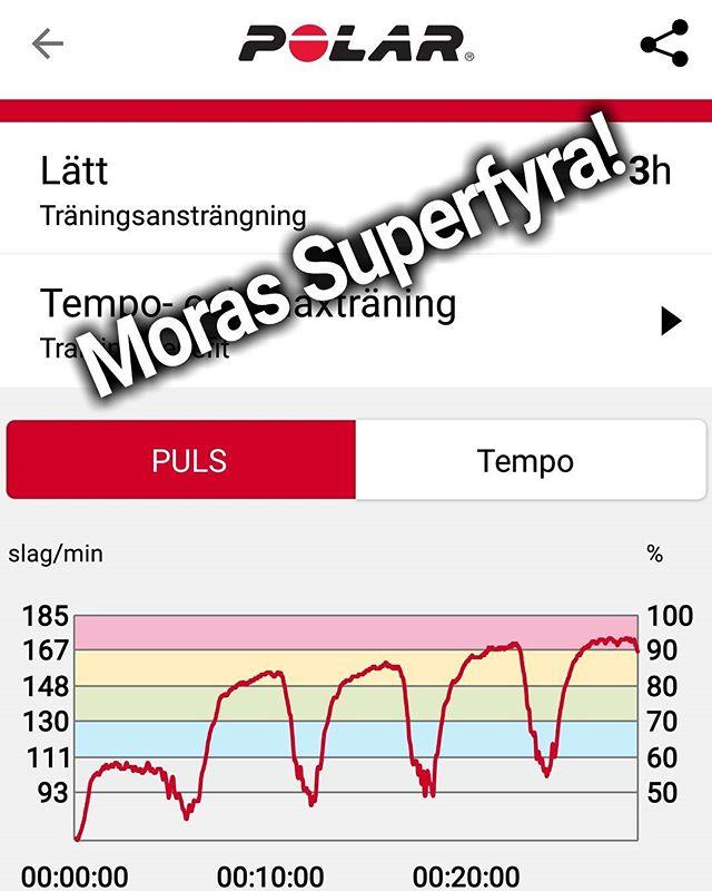 Moras Superfyra! För er som har missat träningsprogrammet så kommer här en förklaring på Moras Superfyra. (Och vill du vara med på Superkroppen3.0 när jag släpper det så är det bara att kommentera med ett hjärta i denna post så hojtar jag till!) = Förklaring: - Ställ löpbandet på maximal lutning (15%) - Hitta en hastighet som du klarar hela vägen. (Ex 8 km/h) - Kör 4 minuter, vila i 2. - Upprepa 4 gånger. - Klart! PS. Håll inte på att pilla på hastigheten när du har börjat. Samma hastighet gäller för alla intervaller! (Annars går det inte att mäta dina framsteg) -------------------------------------------- #superkroppen2.0